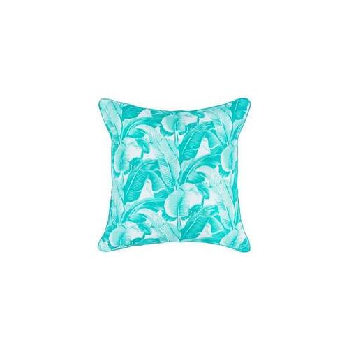 Aqua Banana Leaf Cushion 45 x 45cm