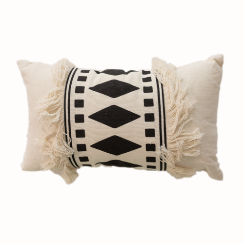 Off White Cushion With Tassels And Black Diamonds
