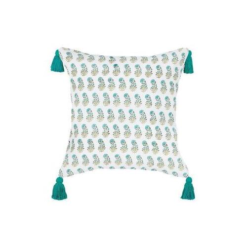 Aqua Jasmine Flower Cushion With Tassels  50 x 50cm