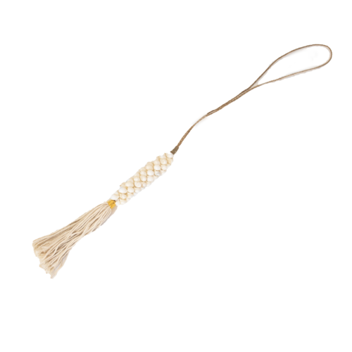 Hanging White Sea Snail Shell With Cream Tassel
