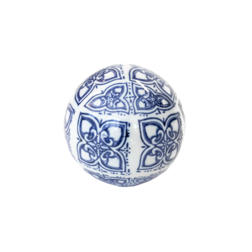 Abstract Blue & White Ceramic Ball 10cm