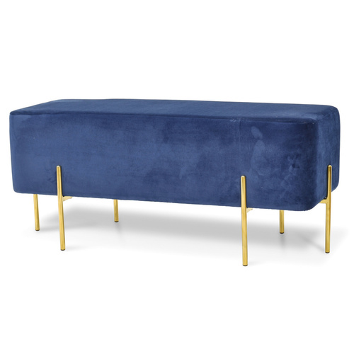 Alexandra Rectangle Velvet Ottoman - Dark Blue