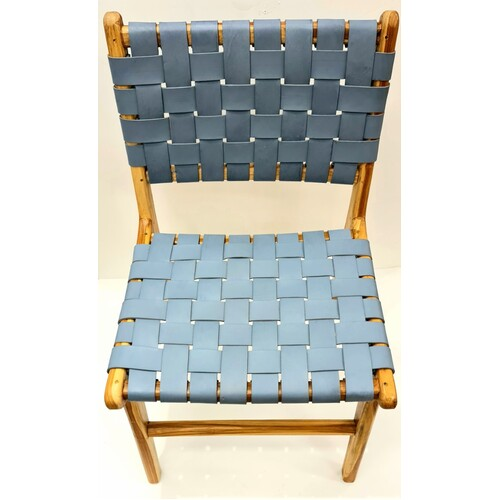 Display Stock Leather Strapping Dining Chair in Teak & Grey/ Blue