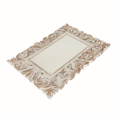 White Wash Teak Ornate Rustic Mirror