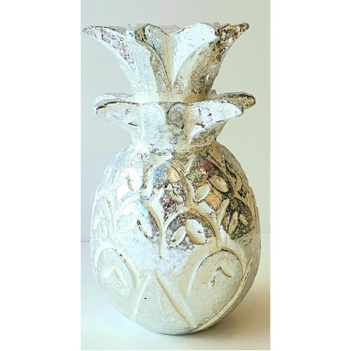 Hand Carved Wooden Decorative Pineapple Silver -  X Small