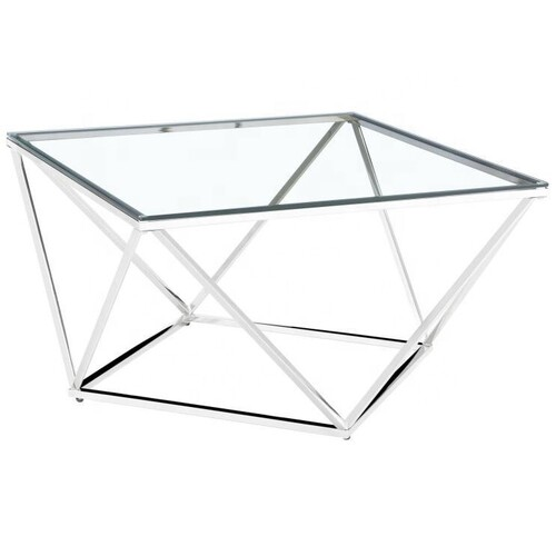 Geometric Jasmine Glass & Silver Side Table