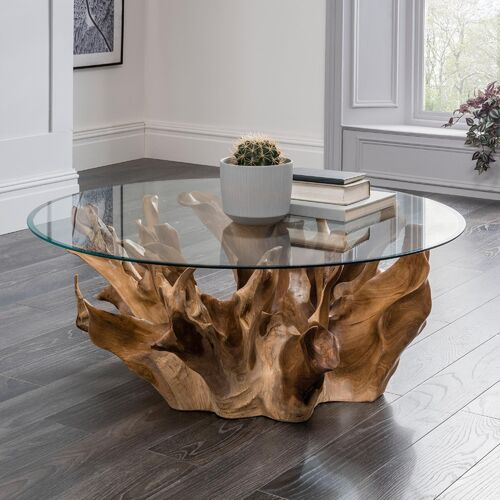 Teak Root Coffee Table With Glass Top - Medium